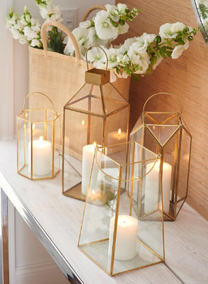 Serene Spaces Living Gold Trapezoid Lantern, Measures 12 in High, Sold Individually