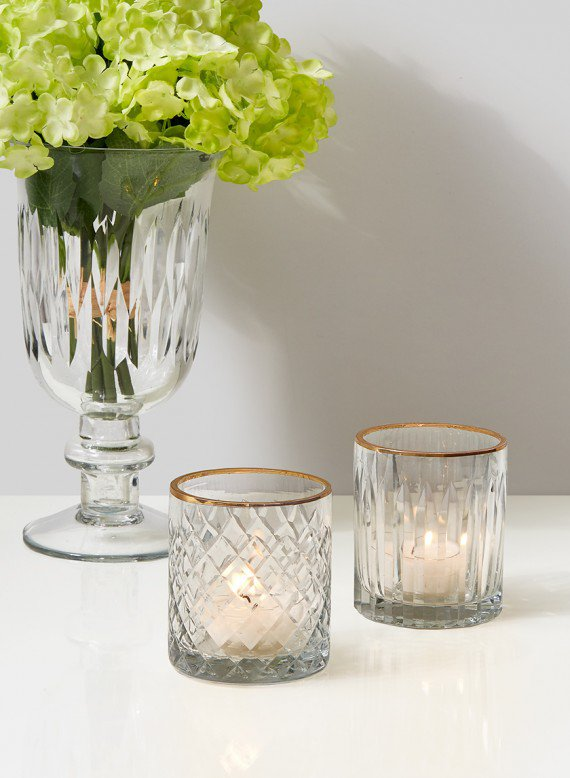 Etched Glass Votive Holder, Set of 4