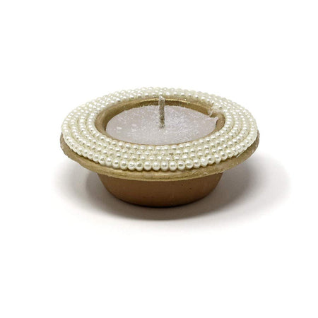 Serene Spaces Living 2.5-Hour Coin Candle in Handmade Terracotta Pot with Pearl Beads, Ideal for Lighting at Christmas, Set of 4