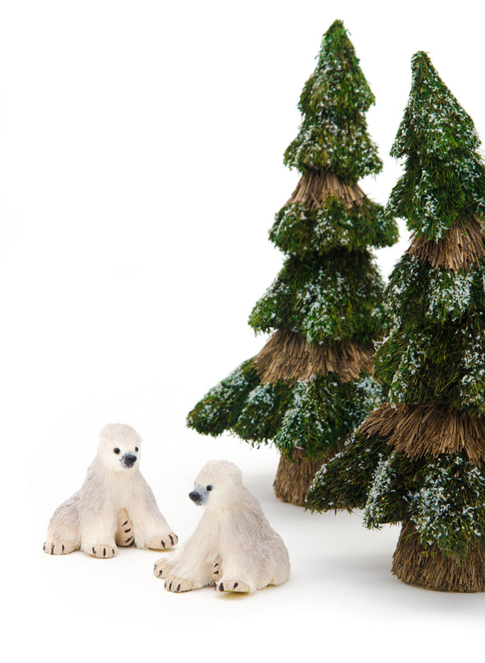 "Serene Spaces Living Furry Polar Bear Ornament, Holiday Décor, Pack of 6, Each Measures 3.25"" Tall and 3.5"" Wide"