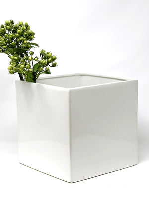 Serene Spaces Living Gloss White Ceramic Cube, Cylinder And Rectangle Vases