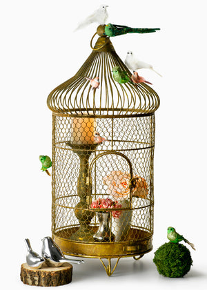 Oversized Antique Gold Patina Wire Birdcage