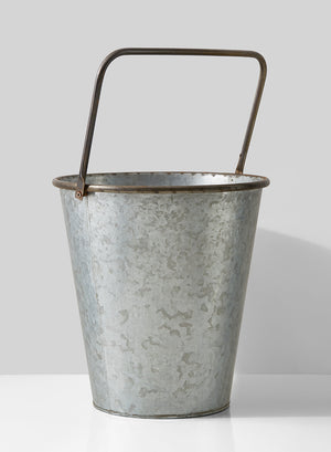 Decorative Grey Zinc Bucket with Square Rust Handle, 13in H, Ideal for Vintage/Rustic Wedding and Store Window Display