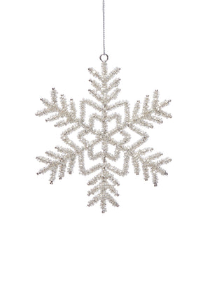 Serene Spaces Living Hanging Glass Beaded Silver Snowflake Ornament, Holiday Decoration, Pack of 6