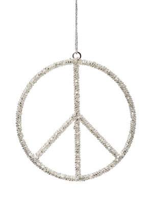 "Serene Spaces Living Hanging Silver Peace Symbol Ornament, Holiday Décor, Pack of 6, Each Measures 5.25"" in Diameter"
