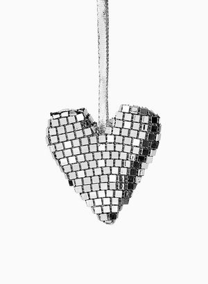 "Serene Spaces Living Hanging Silver Heart Ornament, Holiday Décor, Set of 6, Each Measures 3"" Tall and 3"" Wide"