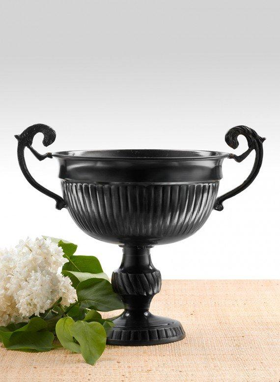 Antique Black Urn with Handles 7in H