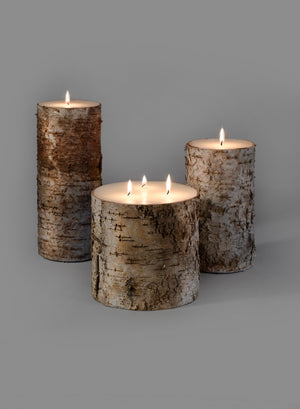 Serene Spaces Living Birch Bark Pillar Candle– Brings Nature Indoors, In 3 Sizes