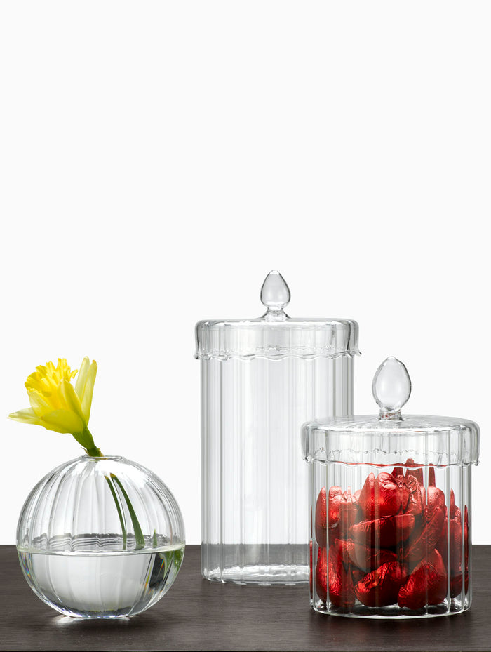 Optical Line Glass Jars With Lids