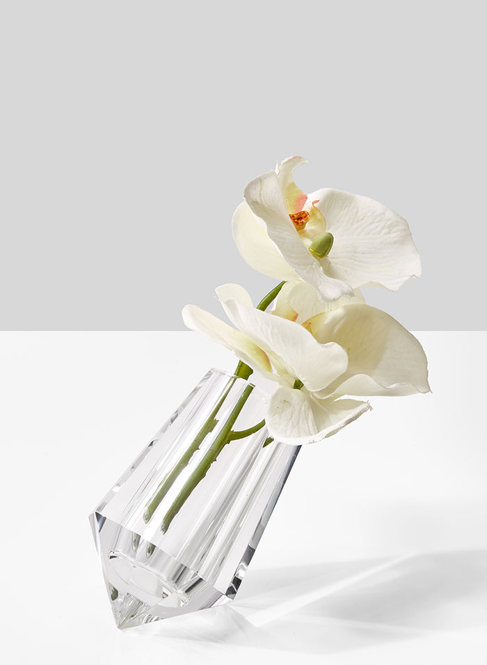 Leaning Crystal Vase 4in H