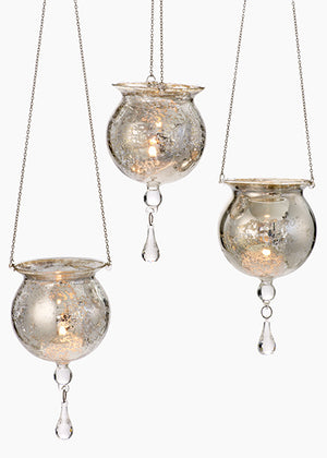 Hanging Antique Silver Glass Votive Holders, Set of 6