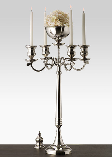 Oversized Nickel Candelabra with bowl
