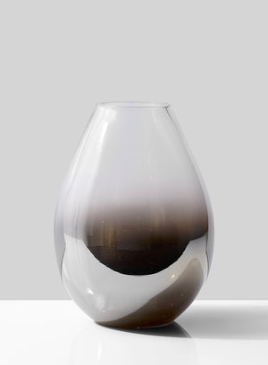 Serene Spaces Living Nickel & Chrome Glass Vase - Clear and Black Ombre Vase, Use for Home Décor, Event Centerpieces and More, 2 Size Options
