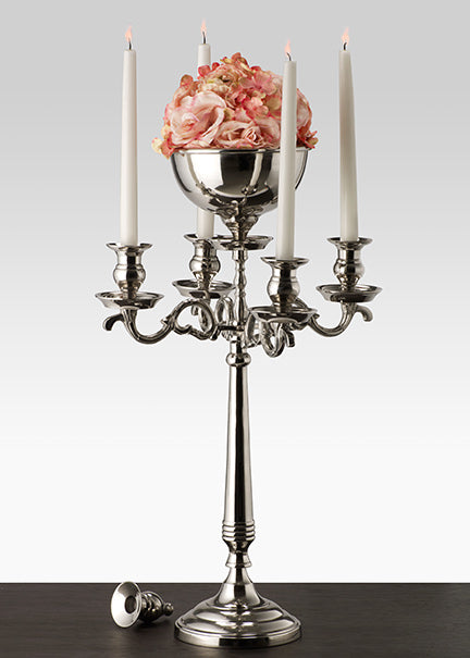 Classic Nickel Candelabra with Bowl