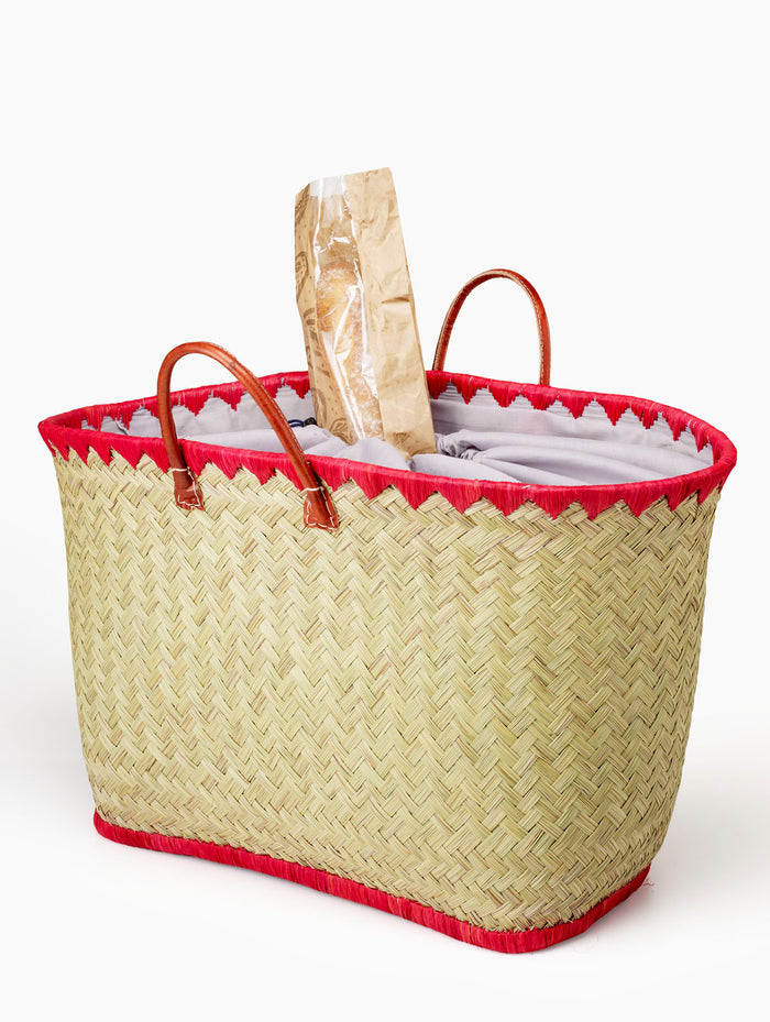 Woven Straw tote With Red Raffia Trim & Leather Handles