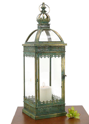 Oversized Patina Square Glass Top Lantern
