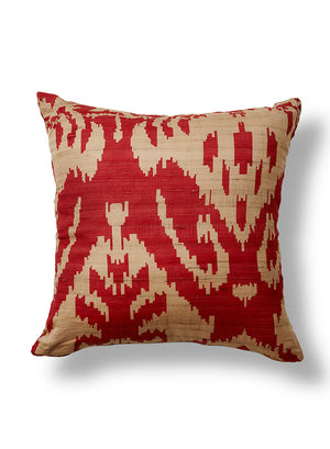 "Serene Spaces Living Red and Tan Ikat Print Square Silk Pillow, Decorative Pillow, Measures 18"" Square"
