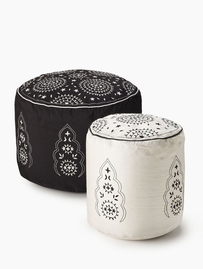 Serene Spaces Living Embroidered Black & Ivory Poufs, Comfortable Seating Option