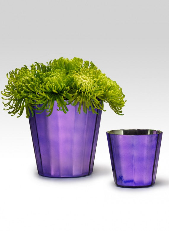Purple Faceted Glass Vases