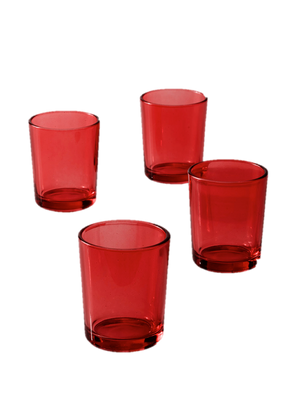 Red Glass Votive Candle Holders, Set of 4