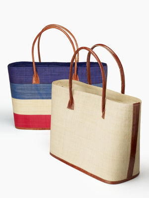 Multicolor And Natural Raffia & Leather Totes