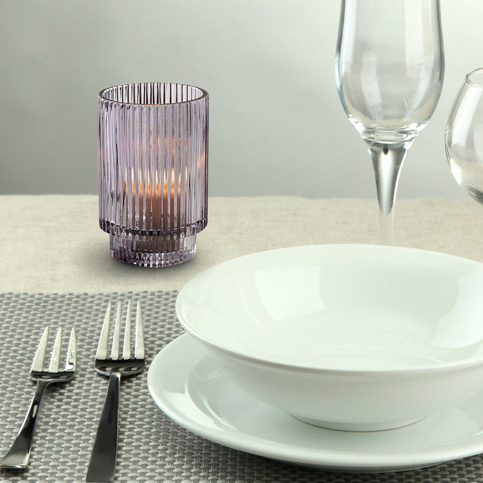 "Serene Spaces Living Ribbed Glass Votive Holder, Perfect for Weddings and Home Décor, Measures 5"" Tall and 3.5"" Diameter"