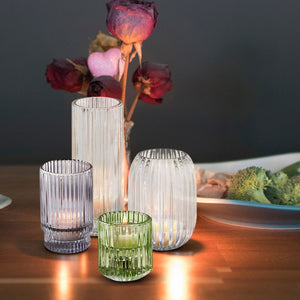 "Serene Spaces Living Optical Glass Votive Holder, Perfect for Weddings and Home Décor, Measures 5"" Tall and 3.5"" Diameter"
