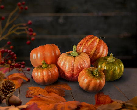 Serene Spaces Living Assorted Harvest Pumpkins, Available in 2 option