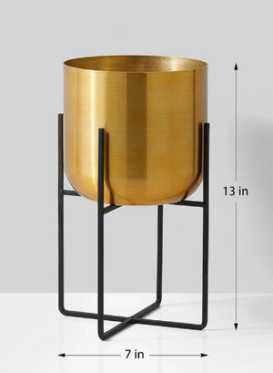 "Serene Spaces Living Brass Gold Planters with Black Stand, Measures 13""H & 7""Dia"