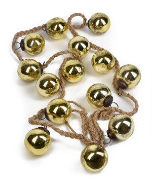 Serene Spaces Living Gold Glass Ball Garland, Ornament for Holiday Décor, Measures 5 feet long