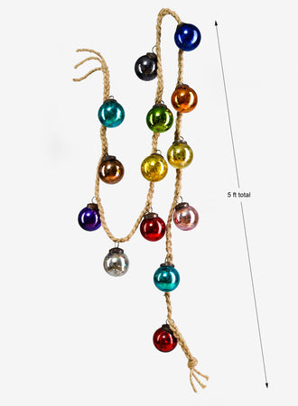 "Serene Spaces Living Multicolor Glass Balls Garland, 60"" Long and 2"" Diameter"