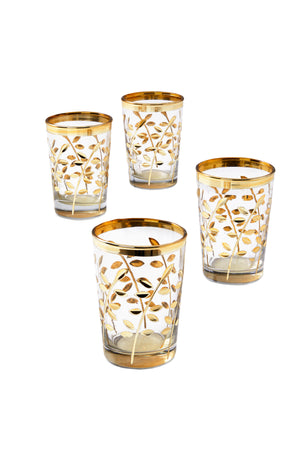 "Serene Spaces Living Moroccan Gold Votive Candle Holders, 3.5"" H and 2.25"" D"