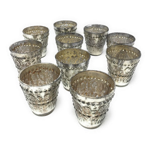 "Serene Spaces Living Silver Votive Holders, Vintage Embellished Style, Measures 3"" Tall 3"" Diameter, Set of 6 or 72"