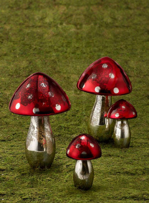 Mercury Glass Umbrella Mushrooms