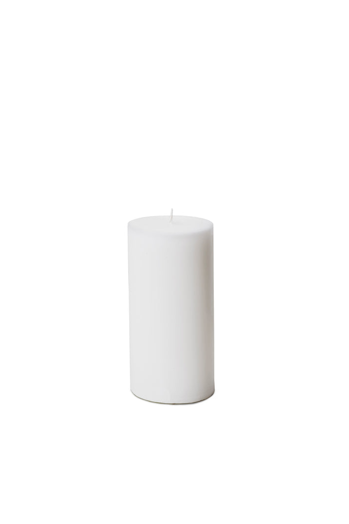 "Serene Spaces Living Set of 4 White Pillar Candles for Wedding, Birthday, Holiday & Home Decoration, 3"" Diameter x 6"" Tall"