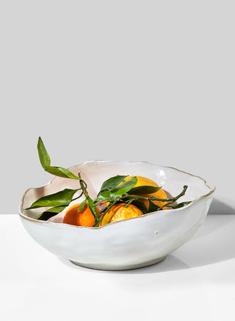 "Serene Spaces Living Extra Large Free-Form Edge Glazed Ceramic Bowl- Dinnerware, Centerpiece for Vintage Weddings, Events, Measures 10.5"" Long, 8"" Wide and 3.5"" Tall"