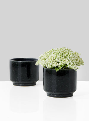 Serene Spaces Living Glossy Black Ceramic Bowl Vase, Available in 3 Sizes