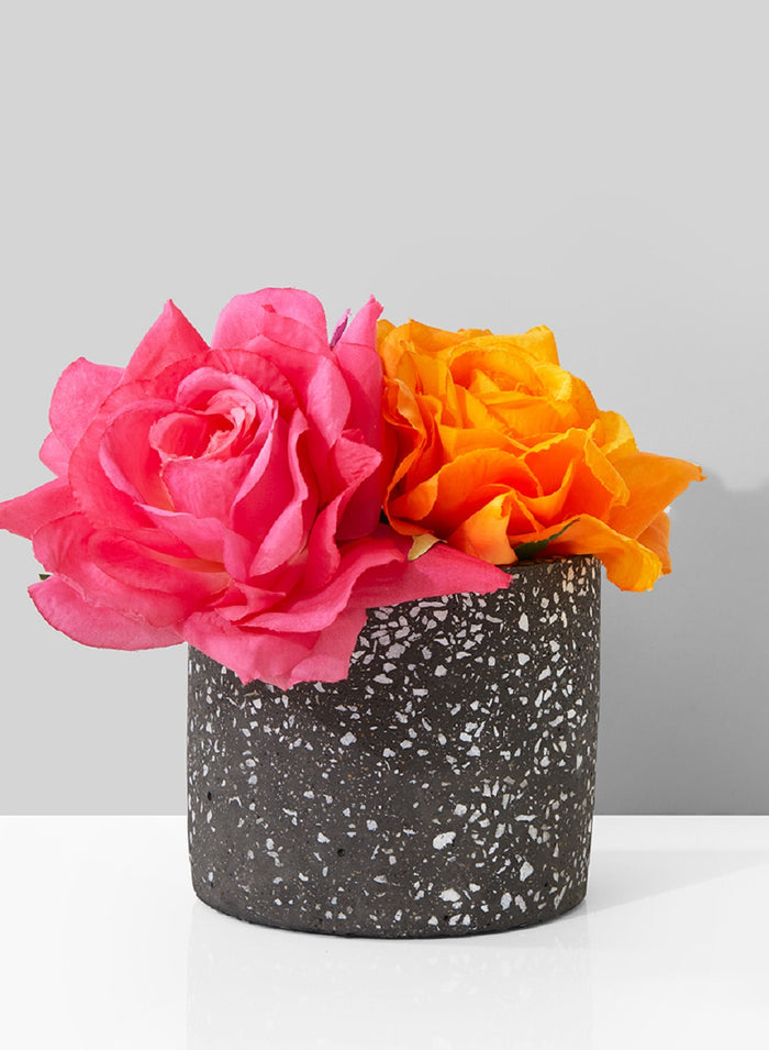 "Serene Spaces Living Black Terrazzo Cylinder for Flowers, 4"" Tall & 4.75"" Dia"