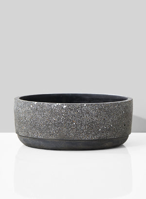 "Serene Spaces Living Shallow Black Terrazzo Bowl for Flowers, 3"" Tall & 8"" Dia"