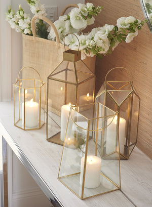 Serene Spaces Living Square Gold Lantern, Available in 2 Sizes