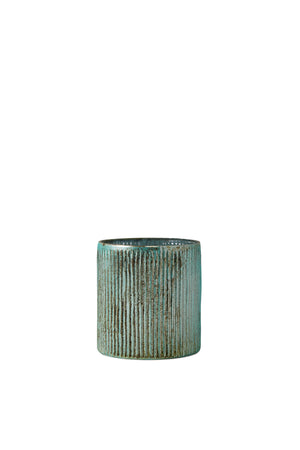 "Serene Spaces Living Verdigris Ribbed Glass Container, Antique Style Vase for Wedding, Event Centerpiece, Measures 5"" Tall and 4.75"" Diameter"