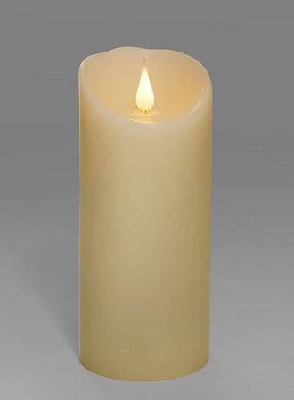 "Serene Spaces Living Ivory Flameless LED Candle, Realistic Flickering Wick, Measures 7"" Tall and 3"" Diameter"