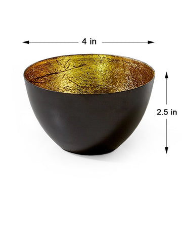 "Serene Spaces Living Set of 4 Stylish Black & Gold Bowls, 2.5"" Tall & 4"" Dia"