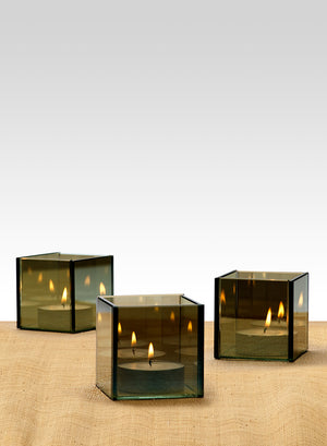 "Serene Spaces Living Bluish Green Glass Cube Tea Light Holder, Reflective Mirror Effect, Measures 3"" Cube"