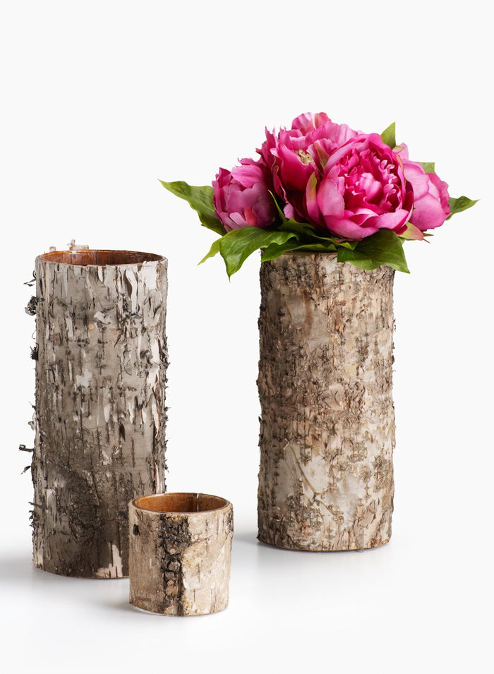 Birch Bark Cylinder Vases