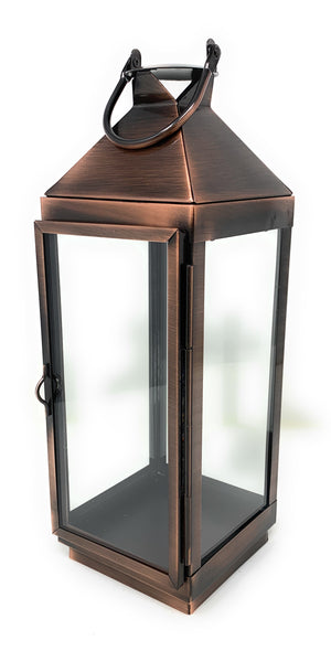 "Serene Spaces Living Copper Finish Steel & Glass Square Lantern, 12"" H & 4"" Sq"