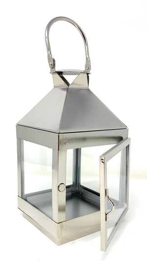 "Serene Spaces Living Burnished Silver Steel Square Lantern, 8"" Tall & 4"" Square"
