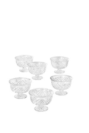 "Serene Spaces Living Set of 6 Four Leaf Clover Glass Compote, 3.5"" Tall & 4"" Dia"