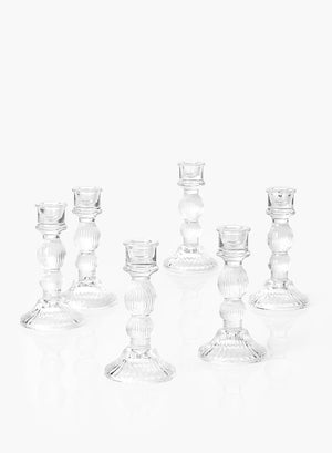 Serene Spaces Living Set of 6 Glass Candlestick Holders, Many Size Options