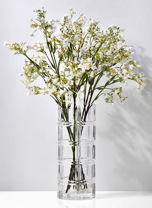 "Serene Spaces Living Etched Glass Cylinder, Centerpiece Vase for Wedding or Event, Measures 9.75"" Tall and 4.25"" Diameter"